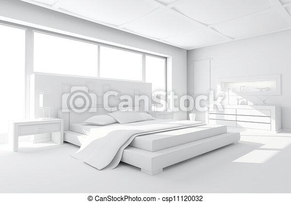3d clay render of a modern bedroom - csp11120032