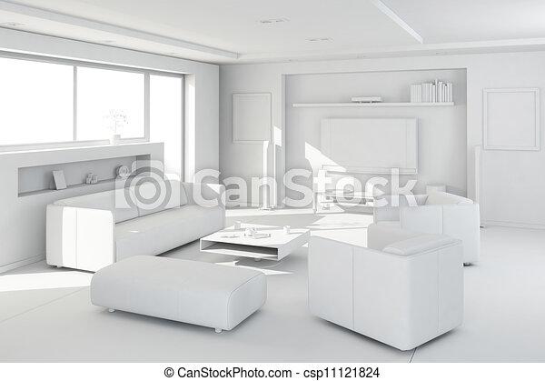 3d clay render of a modern interior design - csp11121824