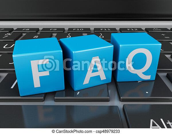3d Close up view of FAQ cubes on keyboard - csp48979233