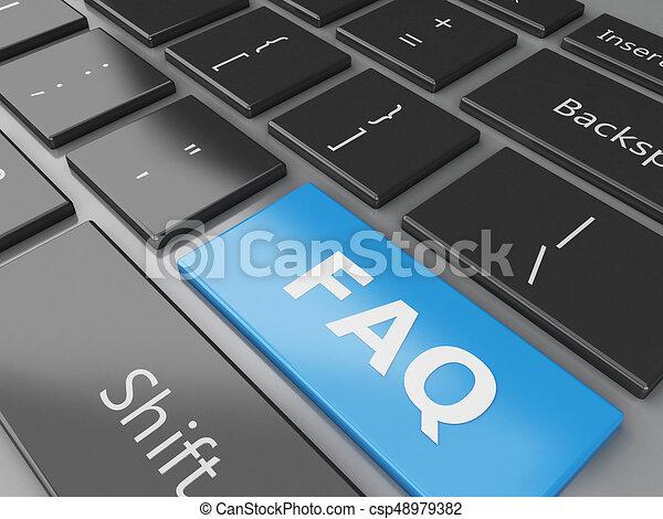 3d Close up view of keyboard FAQ button - csp48979382