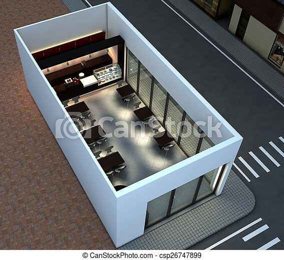 3d Coffee Shop 3d Render Of Bright Coffee Shop Interior