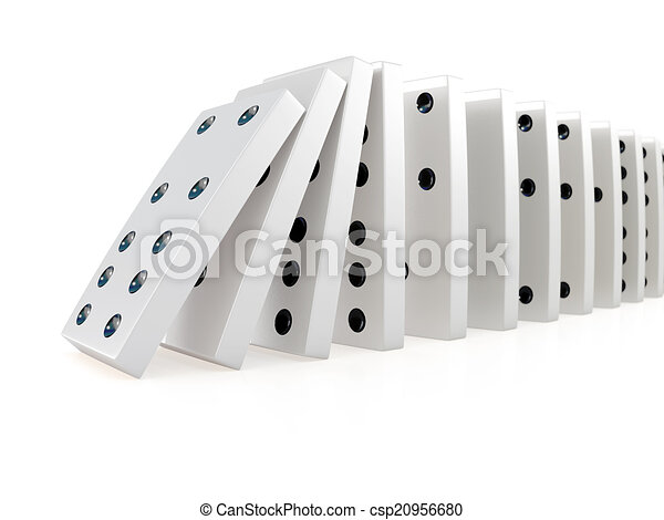 3d Collapsing chain of dominoes - csp20956680