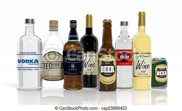 3D collection of alcoholic beverages bottles isolated on white background  - csp23889423