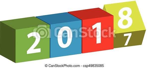 3D color cube with text 2018 isolated on white background. - csp49835085