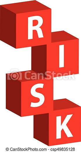 3D color cube with text risk isolated on white background - csp49835128
