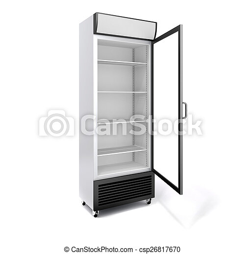 3d commercial fridge with glass door on white background - csp26817670