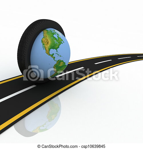 3d conception trips round the world on wheels - csp10639845