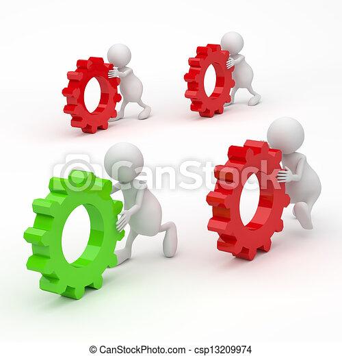 3D personas con engranajes concepto de éxito - csp13209974