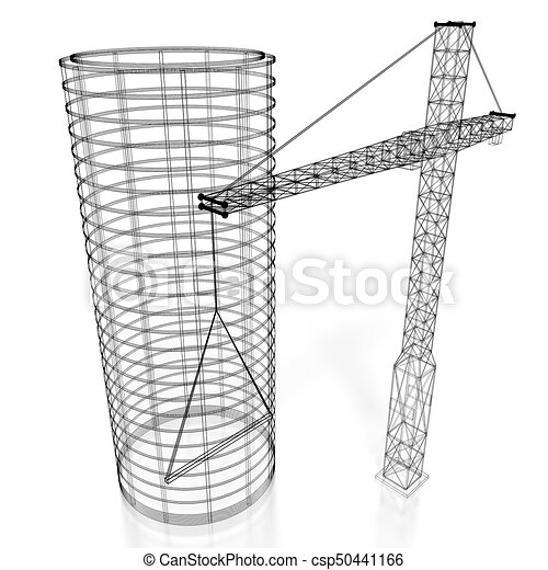 3d construction site office building wireframe white background