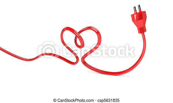 3d contour heart from electric cord on white.