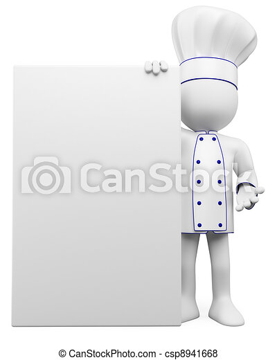 3D cook with a blank poster - csp8941668