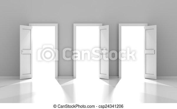 3d, copyspace, trois, render, portes - csp24341206