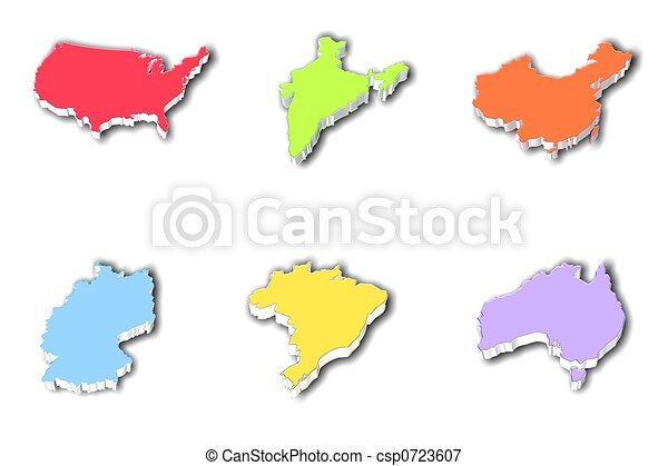 3d country mapss Three dimensional maps usa india china stock