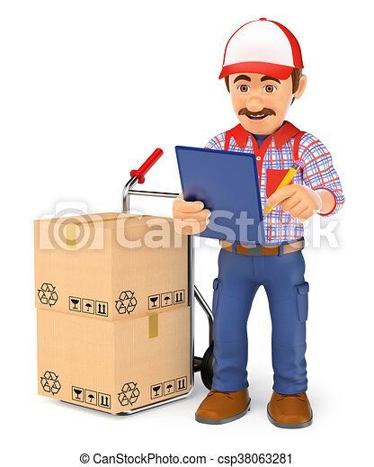 3d courier delivery man checking the packages to deliver 3d working