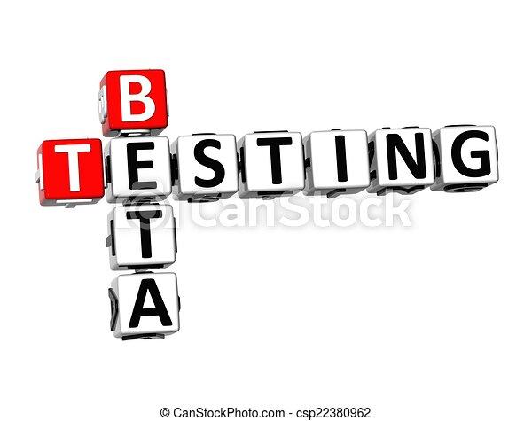 3D Crossword Beta Testing on white background - csp22380962