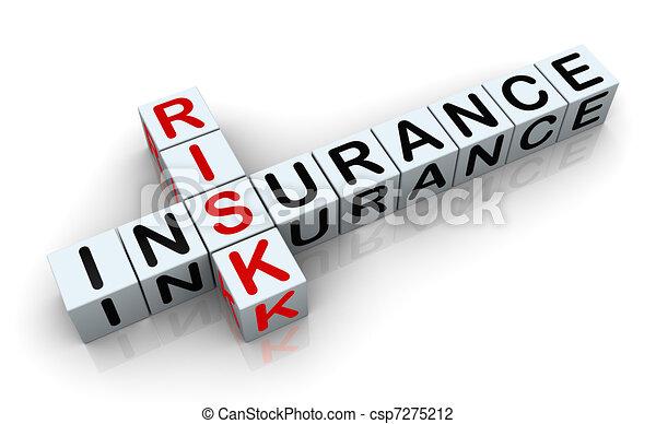 3d crossword of 'insurance risk' - csp7275212
