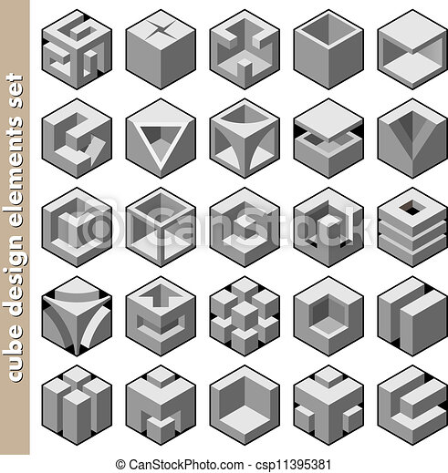 3d cube design elements set vector  3d cube icons logo and