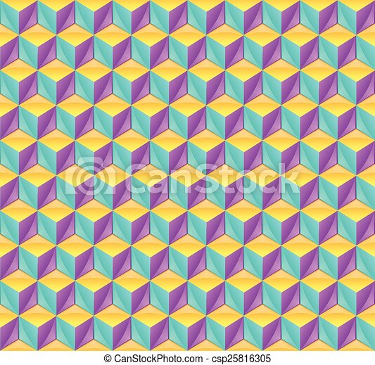 3d cube pattern. Seamless pattern made from three dimensional cubes.