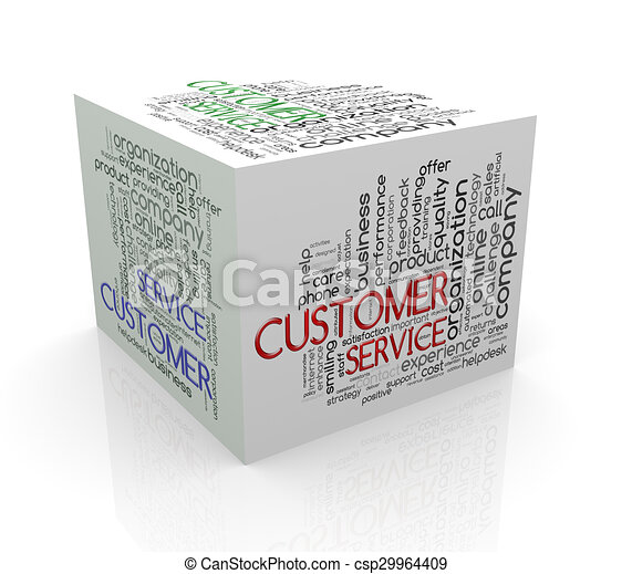3d cube word tags wordcloud of customer service - csp29964409
