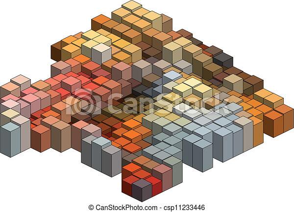 3d cubes, vector background - csp11233446