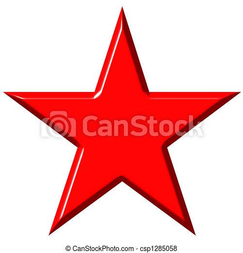 3D Cummunist Red Star - csp1285058