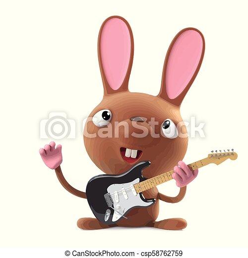 3d Cute cartoon Easter bunny rabbit plays electric guitar - csp58762759