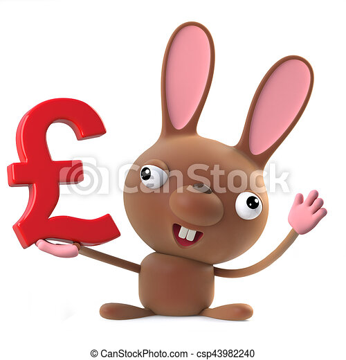 3d Cute Cartoon Easter Bunny Rabbit Holding Uk Pounds Sterling