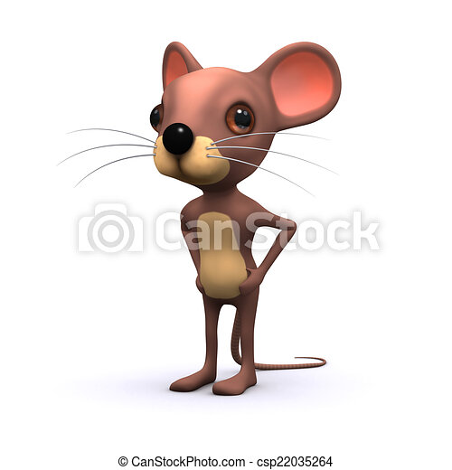 3d Cute mouse with hands on hips - csp22035264