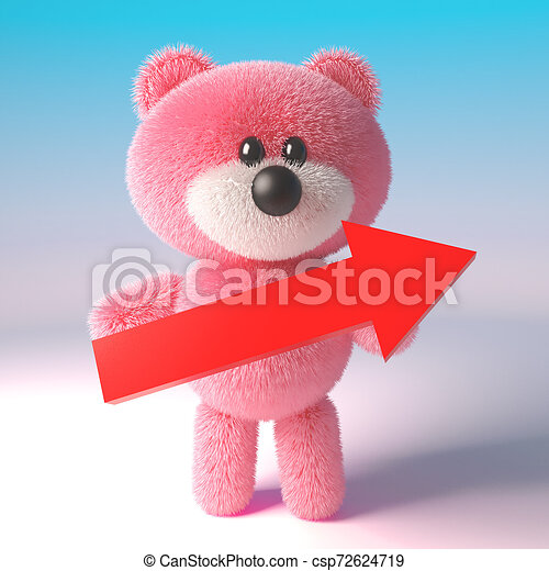 Hay Hay Chicken Stuffed Animal, 3d Cute Pink Fluffy Teddy Bear Character Holding A Big Red Arrow 3d Illustration Render