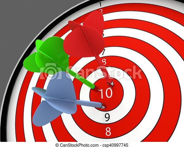 3d darts hitting the bullseye aim. concept of success - csp40997745