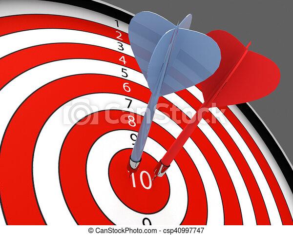 3d darts hitting the bullseye aim. concept of success - csp40997747