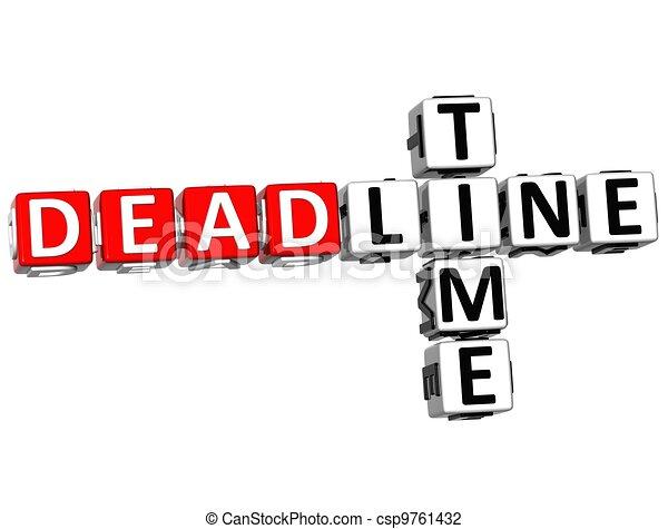 3D Deadline Time Crossword - csp9761432