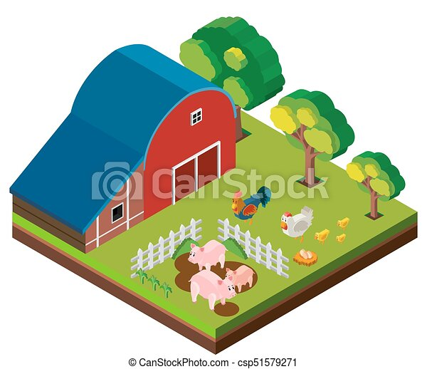 3D design for barn scene with many animals - csp51579271