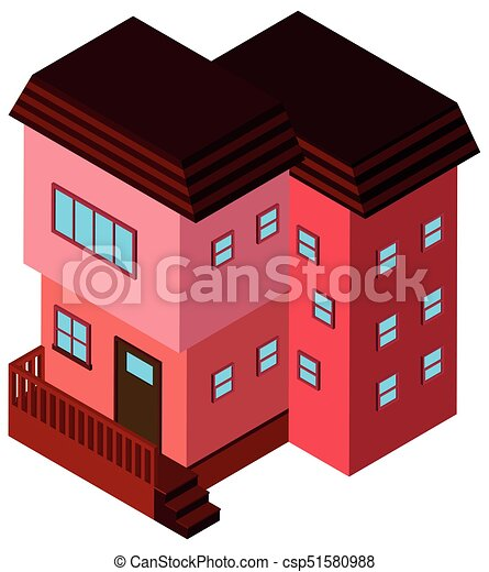 3D design for building in pink color - csp51580988