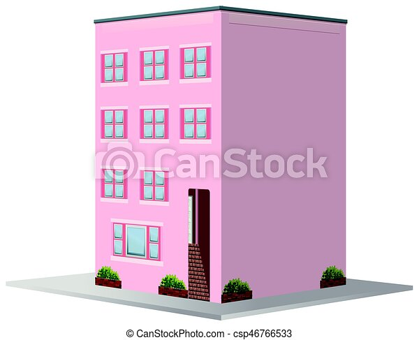 3D design for building painted in pink - csp46766533