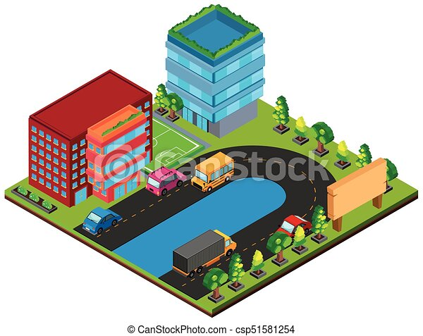 3D design for buildings and cars on the road - csp51581254
