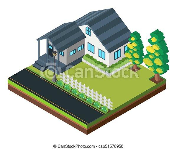3D Design For House With Garden   Csp51578958