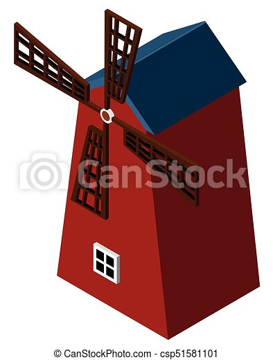 3D design for red windmill - csp51581101