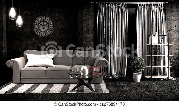 3d, design., interpretación, habitación, oscuridad, estilo, interior, desván - csp76834178