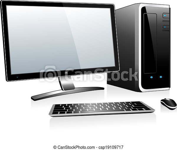 3d desktop computer. Computer with monitor keyboard and ...