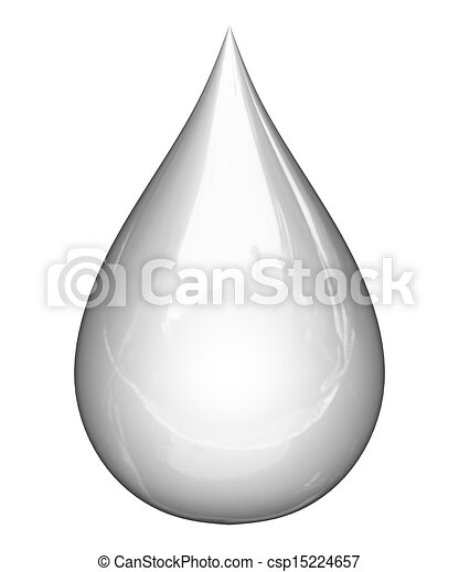 3D detailed illustration of a drop of water - csp15224657