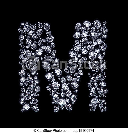 3D Diamond Letter On Black