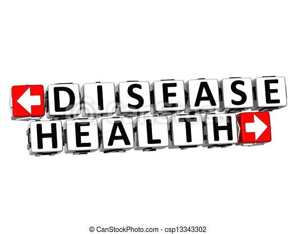 3D Disease Health Button Click Here Block Text - csp13343302