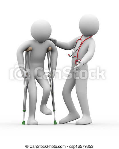 3d doctor helping a person on crutches - csp16579353