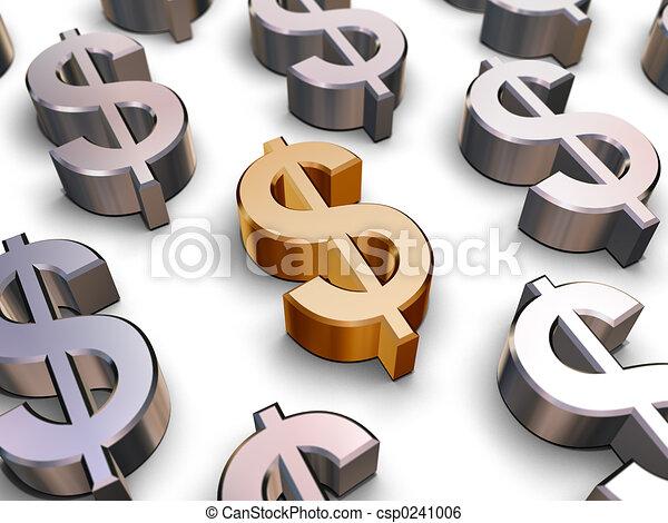 3D Dollar symbols - csp0241006