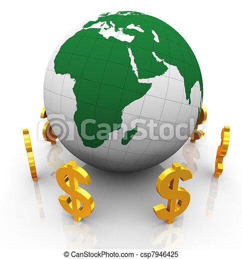 3d dollar symbols - csp7946425