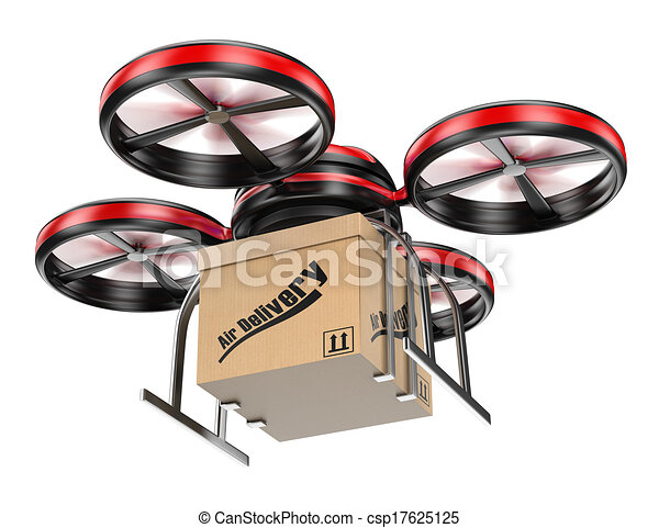 3D drone delivering a package - csp17625125