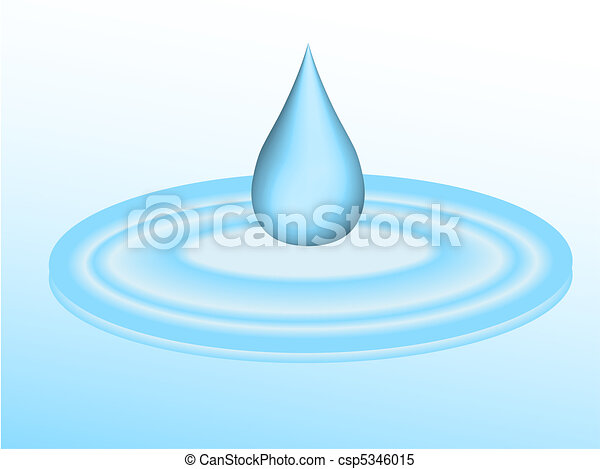 3d droplet of water falling into puddle - csp5346015