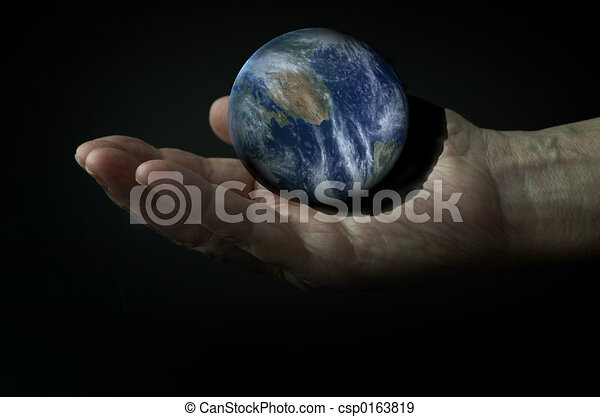 3d Earth on the hand in the dark - csp0163819
