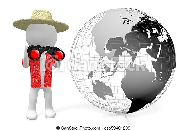 3D Earth, tourist with binoculars - csp59401209